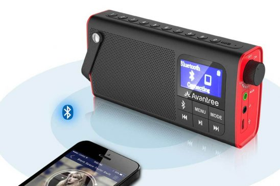 Radio digital Avantree FM 3 en 1 con altavoz Bluetooth y batería recargable