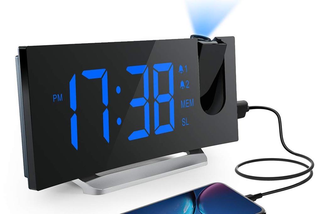 Reloj despertador Mpow con proyector de hora y radio FM