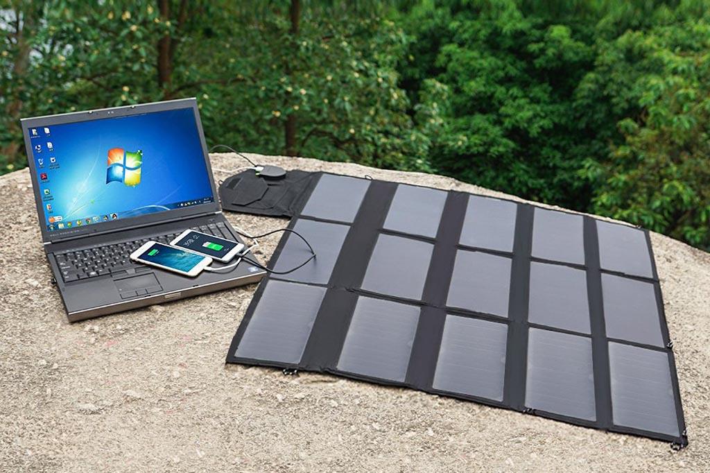 Cargador Solar Plegable ALLPOWERS 100W: 3 puertos de carga (2 USB, 1 DC 18V/12V)