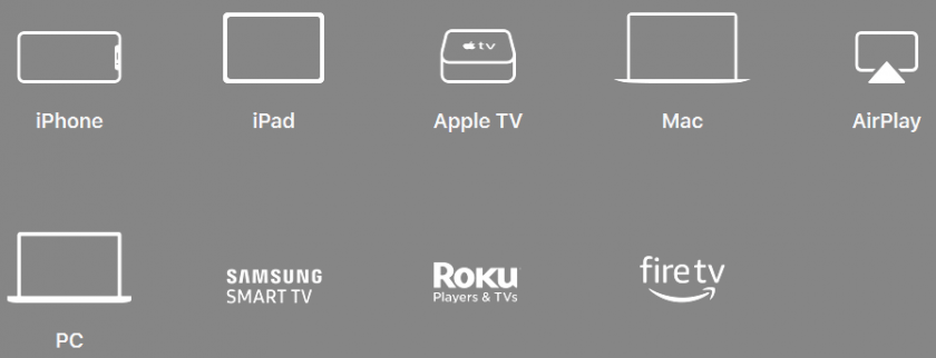 Dispositivos compatibles con Apple TV: iphone, ipad, apple tv, mac, airPlay, PC, Smart TV, fire tv stick...